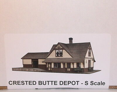 "S Sn3 RAGGS CRAFTSMAN KIT "" D&RGW CRESTED BUTTE,CO DEPOT "" NEW LASER CUT KITa"