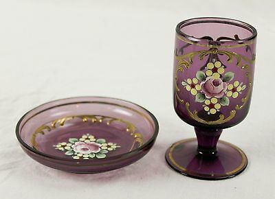 Vintage Hand Painted Flowers Purple Amethyst Goblet & Dish Saucer Base Chipped