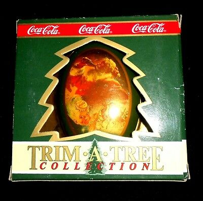 Coca-Cola Trim-a-Tree Collection 1990 Ornament Tin Santa Claus Travel Refreshed