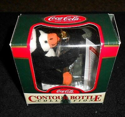 Coca-Cola Contour Bottle 1998 Ornament - replica 6.5oz bottle w/ penguin - New