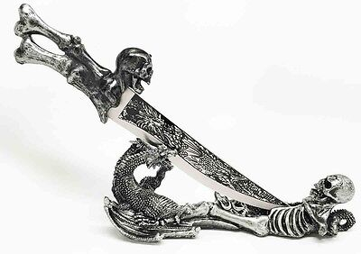 Obsidian Athame Underworld Skull Dragon Dagger with Holder for Home and Office