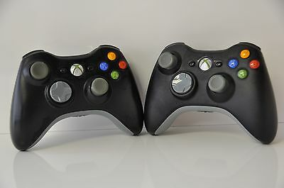 Official Genuine Microsoft xbox 360 Wireless Controller (Black) Lot of 2 Units
