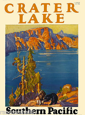Crater Lake National Park Oregon Train United States Travel Poster Advertisement