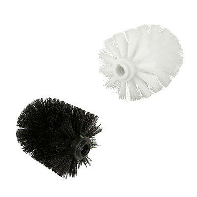 2x Bathroom Replacement Plain Plastic Toilet Brush Head Refill Spare White/Black