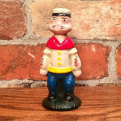 "Popeye The Sailor Man 5.5"" Vintage Cast Iron Penny Coin Bank, LIMITED QUANTITY"