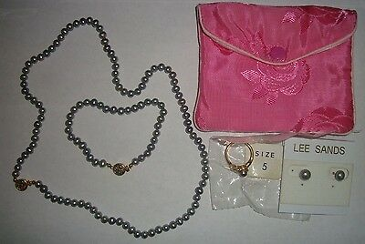 New Lee Sands Silver Pearl Necklace Earrings Bracelet Ring 4 Pc Set ~ Qvc