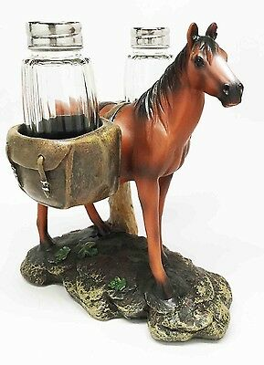 Saddlebags Brown Horse Equus Salt and Pepper Shakers Holder Decor Home Kitchen