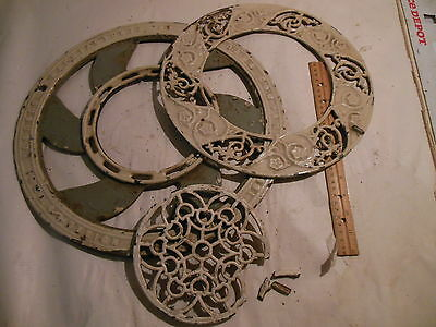 Antique Cast Iron Ornate Round Victorian Stove Pipe Register Grate Vent 3 Piece • CAD $158.11