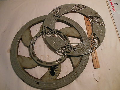 Antique Cast Iron Ornate Round Victorian Wall Stove Register Grate Vent 2 Piece