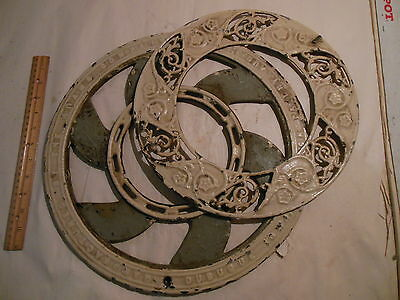 Antique Cast Iron Ornate Round Victorian Floor Stove Register Grate Vent 2 Piece