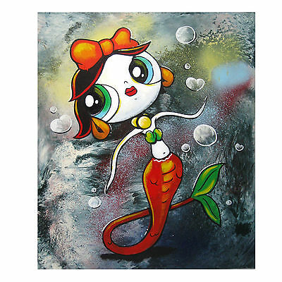 """FAIRY MERMAID Abstract Bubbles Painting 16"""" x 20""""  Signed Painting E Black"""