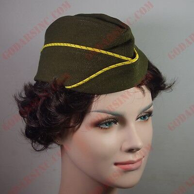 WWII US WAC  (Women's Army Corps) Enlisted Garrison Cap Olive Darb 60