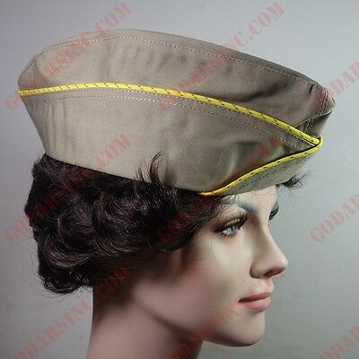 WWII US WAC  (Women's Army Corps) Enlisted Garrison Cap Khaki 58 Free Shipping