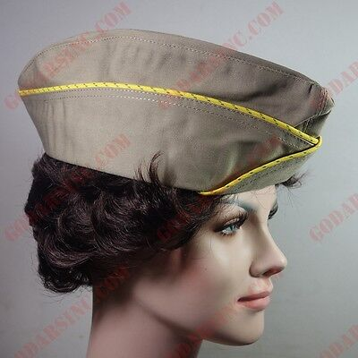 WWII US WAC  (Women's Army Corps) Enlisted Garrison Cap Khaki 59 Free Shipping