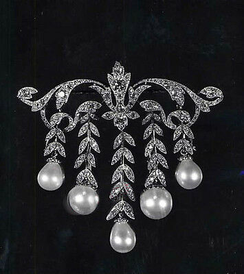 Vintage Style 5.00ct Rose Cut Diamond & Pearl Amazing Sterling Silver Broach