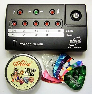 ELECTRIC, ACOUSTIC or BASS - GUITAR TUNER+12 Picks & Guitar Cloth