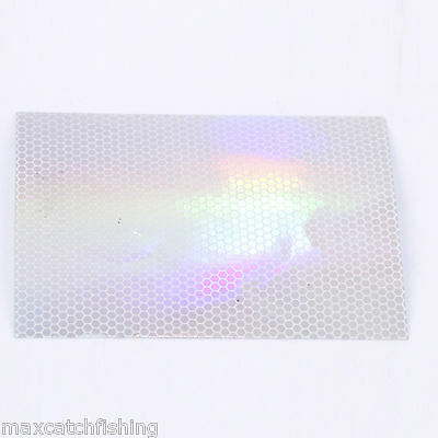 Rainbow Holographic White Scale Outline Waterproof Lure Tape 2 pcs 3''X4''