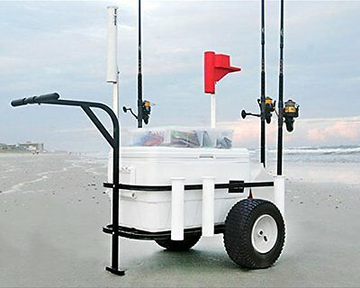 Fishing and Beach Cart Rod Holder Collapsible Wagon Wide Wheels Portable Camping