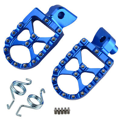 Blue Foot Pegs Footrests WIDE Anodized For Yamaha YZ85 YZ125 YZ250 YZ250FX 99-15
