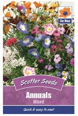2 Packs of Annuals Mixed Flower Scatter Seeds, Approx 270 seeds per pack
