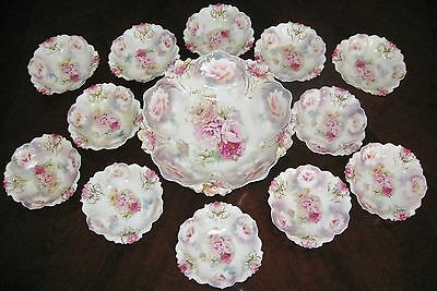 Berry Set Antique Bowls RS Prussia Molds 29 Lily & 25 Iris Master Plus 12 Indiv