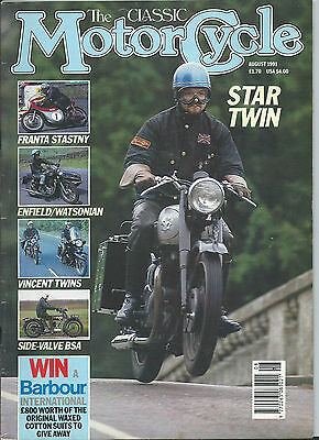 The Classic Motorcycle Magazine 8/91 SIDE VALVE BSA ,500C ENFIELD INDIA BULLET ,