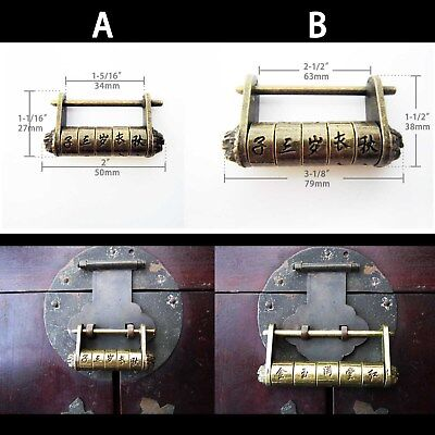 Vintage Antique Chinese Old Style Jewelry Chest Box Code Password Lock Padlock