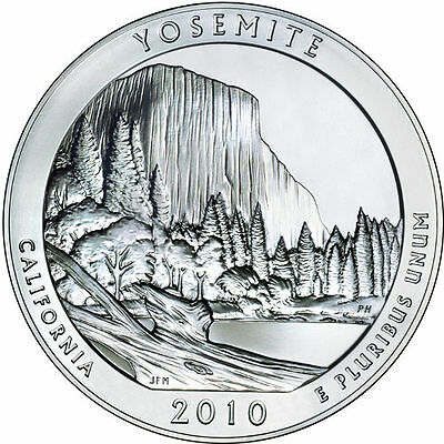 2010 5 oz America The Beautiful ATB Yosemite Silver Coin .999 Fine