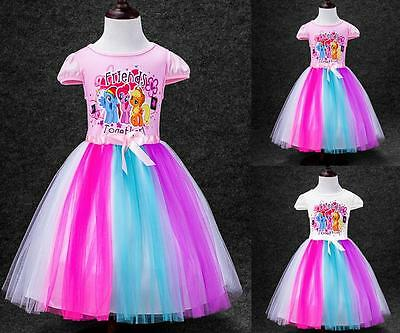 Girls My Little Pony Dress Kids Princess Summer Party Flower Childrens Costume