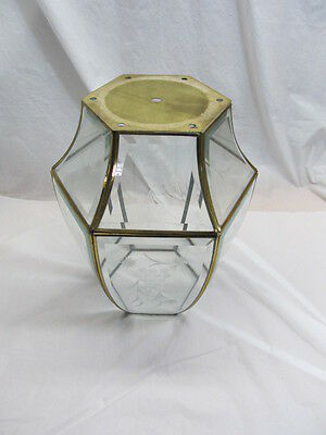 Large Vintage Leaded Brass Hanging Lamp Shade With Etched Glass/Parts