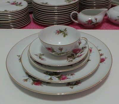 1950's Moss Rose Japan 1 Service Set 4 Plates & 1 Cup Excellent Condition