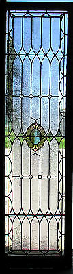 ~ ANTIQUE AMERICAN STAINED GLASS WINDOW 24 x 83.5 ~ 1 of 3 ARCHITECTURAL SALVAGE