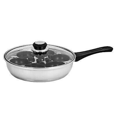 NEW 6 CUP EGG POACHER PAN WITH LID Stainless Steel Non Stick Saucepan Fry