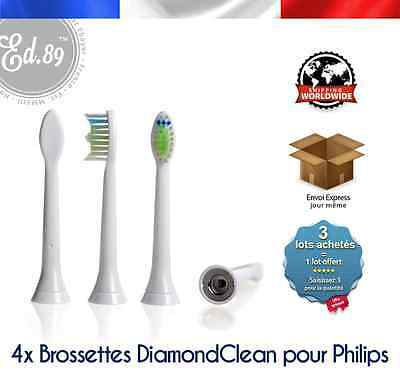 4 Brossettes Sonicare Diamond Clean compatibles brosse à dents Philips