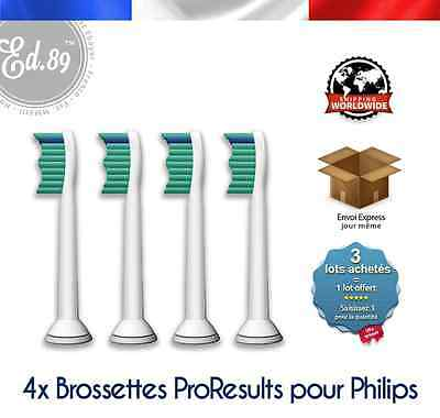 4 Brossettes Sonicare PRORESULTS compatibles brosse à dents Philips
