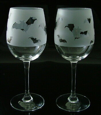 Bat gift Wine Glasses by Glass in the Forest..Boxed