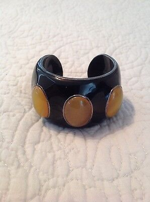 Silver 925 Black Color Enamel Cuff Bracelet with Big Yellow Agate Stones
