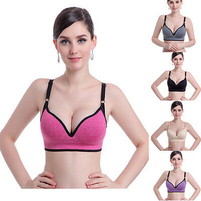 Women Running Gym Strap Sport Bra Push Up Yoga Fitness Top Padded Workout Tops