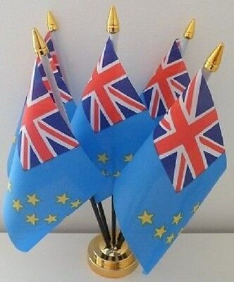 Tuvalu Tuvaluan 5 Flag Flags Table Display Centrepiece With Gold Base
