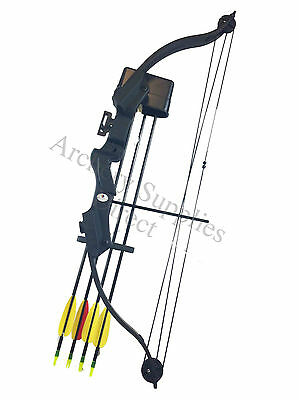 ASD Archery 20Lbs Youth - Child - Kids Black Compound Bow & Arrows Set