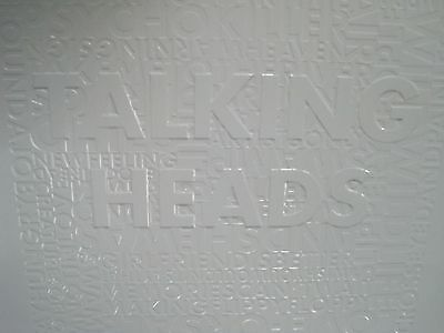 Vintage Talking Heads Embossed Letters White Advertising Sign Poster WB Rhino