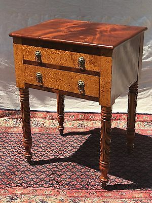 Sheraton New York Burled Elm & Mahogany Acanthus Carved Work Table -Rare Example