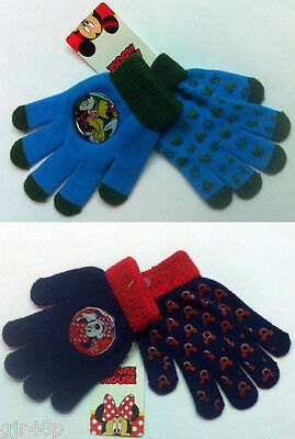Disney Mickey Mouse Or Minnie Mouse Kids Gloves One Size Fits ALL 100 % Acrylic