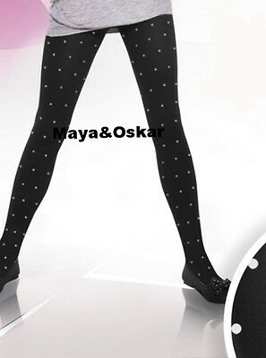 Girls Black Pink Grey Tights Dots Dotted Spotted Spots Party Hosiery 60 DEN