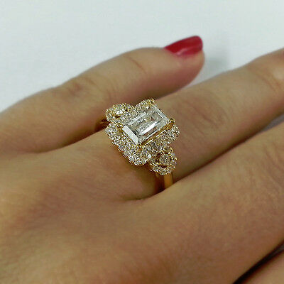 Certified 1 55ct Diamond Engagement Ring Emerald Cut Diamond In 14k Yellow Gold 1 795 00 Picclick