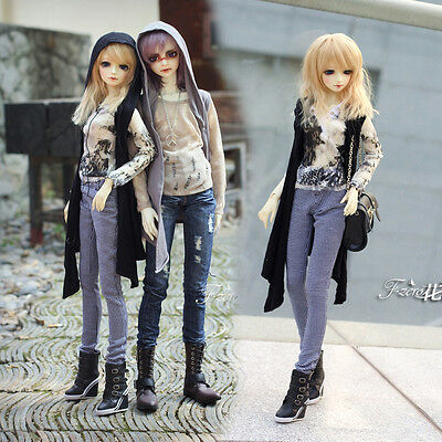 New Black Sleeveless Long Cardigan Shirt for BJD 1/3 1/4 Size Doll Clothes
