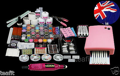 Full Nail Art Kit Set Acrylic Powder Brush UV Lamp Electrical Drill Glitter Tips