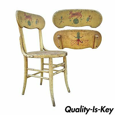 Antique Rustic Primitive Distress Hand Painted Nursery Rhymes Side Accent Chair