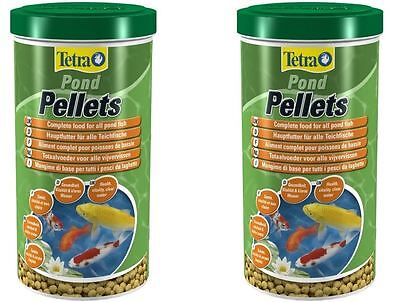 2 x Tetra Pond Pellets Fish Food 1 Litre / 260g