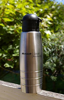 Microsoft Global Accounts Stainless Tone Metal & Black Water Bottle Computer